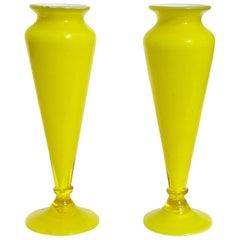 Vetreria Barovier Murano Yellow White Italian Art Glass Cabinet Flower Vases