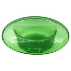 Vetreria Empoli Large Murano Green Glass Top Hat Shaped Vase or Bowl, 1960s