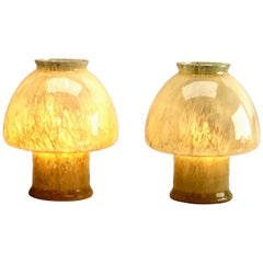 Vetreria LAG 'Murano)', Pair of Mushroom Table Lamps in Cloudy Amber '1970s'