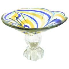 Vetri D Arte Murano Pedestal Glass Dish, Floral Design, 1970s