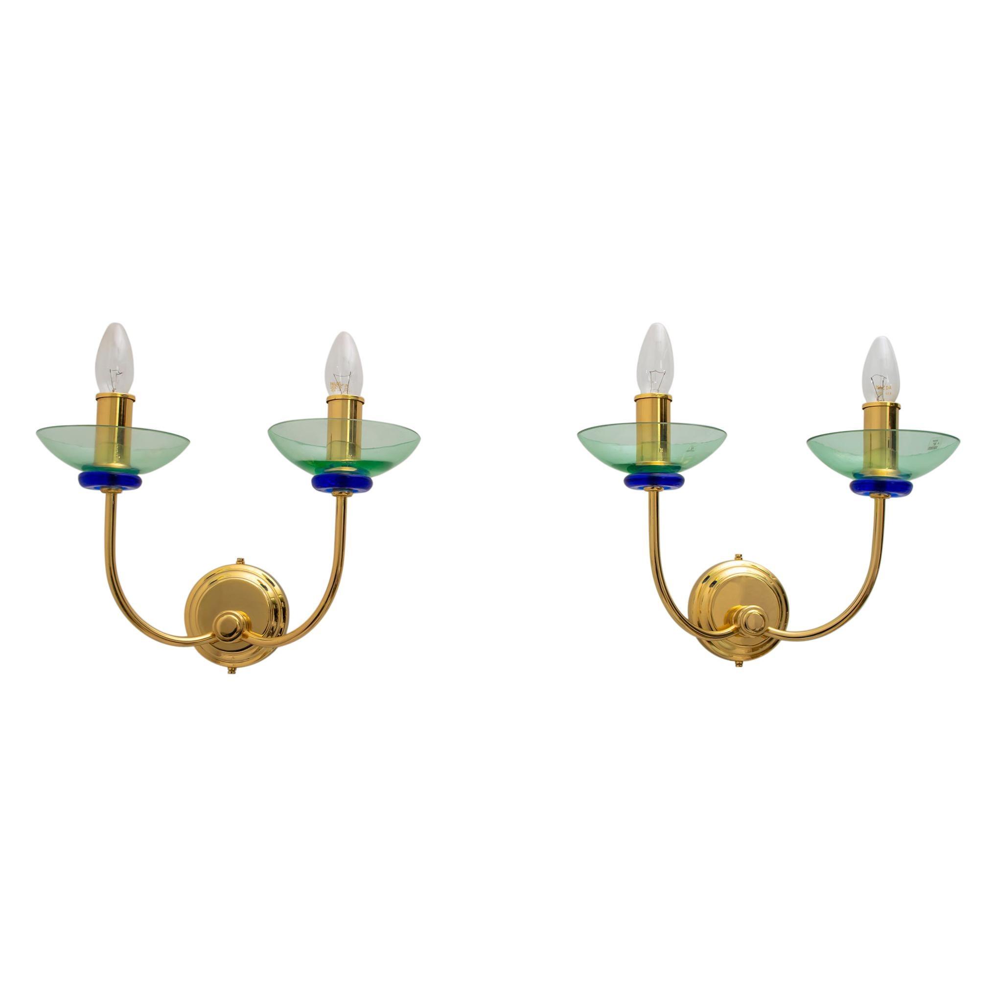 Vetri Murano Pair of Modern Italian Murano Glass and Brass Sconces, 1980s