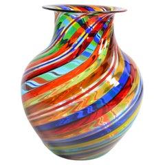 Vetro Artistico Murano Blown Glass Decorative Vase Colorful Swirls, Italy, 1970