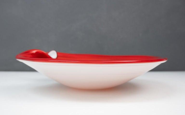 Vetro Artistico Veneziano Murano class bowl. Bright red color with sparkles. Signed, 1960s perfect condition.
