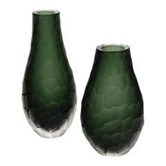 """""""Vetro Battuto"""" Green Murano Glass Vases"""