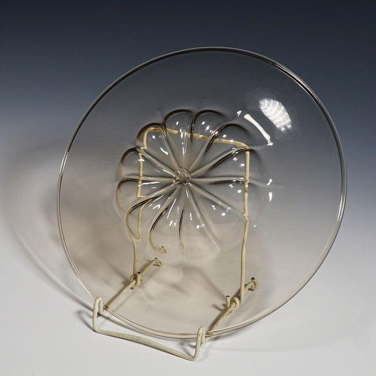 Italian Vetro Soffiato Glass Plate by Vittorio Zecchin for Venini Murano, circa 1925 For Sale