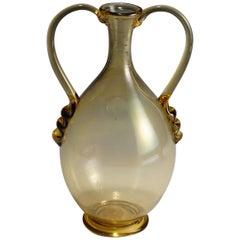 Vetro Soffiato Glass Vase by Vittorio Zecchin for Venini Murano, circa 1950