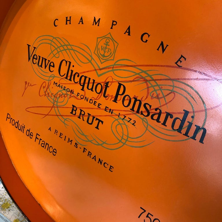Metal Veuve Clicquot Champagne Label Ovular Tole Tray For Sale