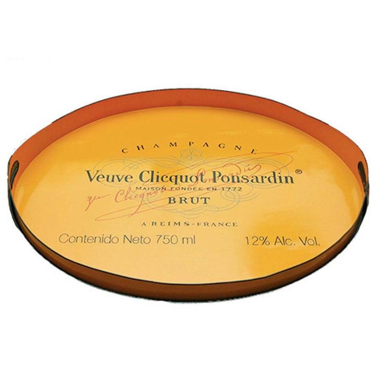 Veuve Clicquot Champagne Label Ovular Tole Tray For Sale