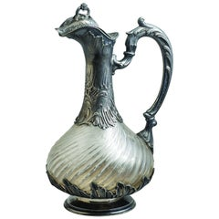 "Veyrat French Sterling and Crystal ""Aiguière"" Claret Jug, circa 1880"