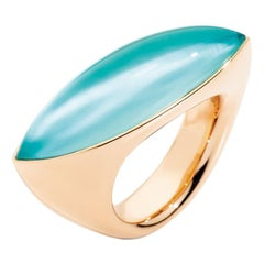 Vhernier 18 Karat Rose Gold, Turquoise and Rock Crystal Ring