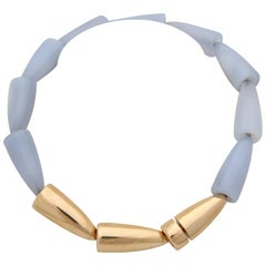 Vhernier 1990s Collana Calla Pale Blue Chaceldony and Rose Gold Choker Necklace