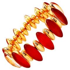 Vhernier 2011 Fuseau Collection Red Carnelian Rock Crystal Rose Gold Bracelet