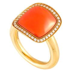 Vhernier Cardinale Piccolo 18 Karat Rose Gold 0.21 Carat Diamond and Coral Ring