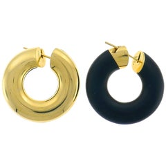 Vhernier Creole Yellow Gold Jet Hoop Earrings