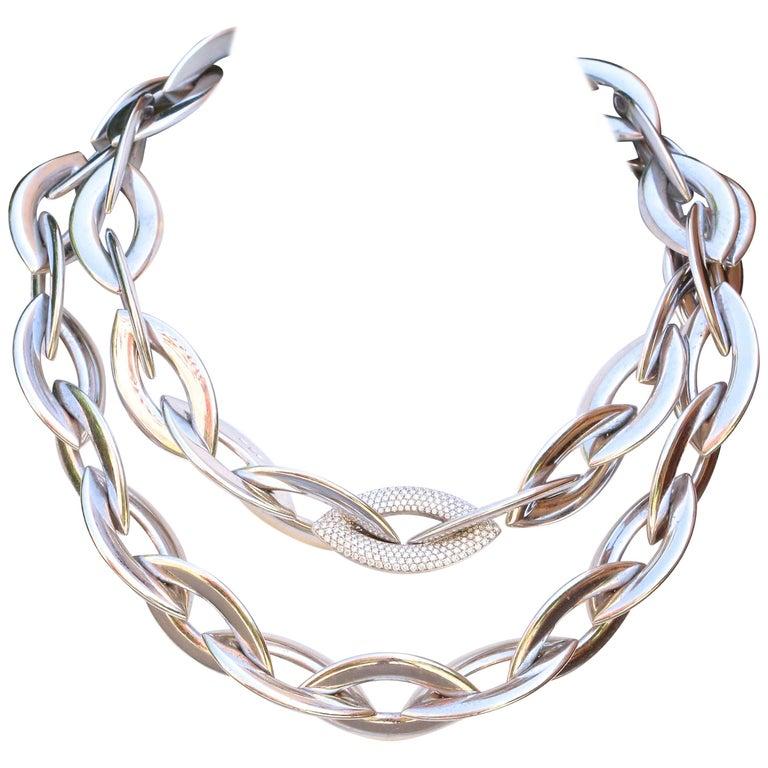 Vhernier Doppio Senso Diamond 18 Karat Necklace For Sale