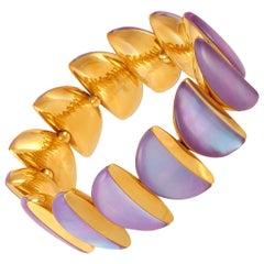 Vhernier Eclisse 18 Karat Gold Mother of Pearl, Rock Crystal, Siderite Bracelet