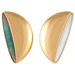 Vhernier Eclisse Medio 18 Karat Gold Mother of Pearl and Rock Crystal Earclips