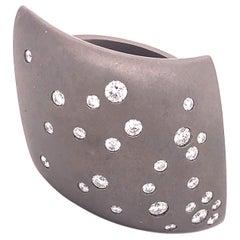 Vhernier Fibula Collection White Diamond Titanium Cocktail Ring