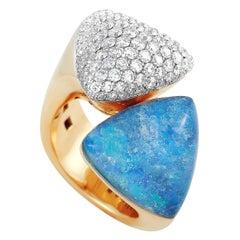 Vhernier Freccia 18 Karat Rose Gold 1.92 Carat Diamond and Rock Crystal Ring