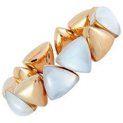 Vhernier Freccia 18 Karat Rose Gold Mother of Pearl and Rock Crystal Bracelet