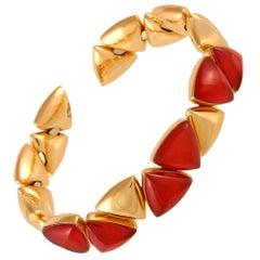Vhernier Freccia Mini 18K Rose and White Gold Carnelian & Rock Crystal Bracelet