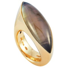 Vhernier Fuseau 18 Karat Rose Gold Smoky Quartz and Mother of Pearl Ring