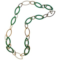 Vhernier Jade and 18 Karat Red Gold Pop Neclace