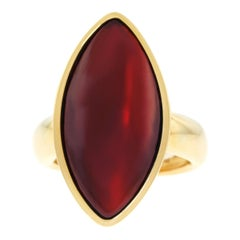 Vhernier Modernist Garnet Set Gold Ring