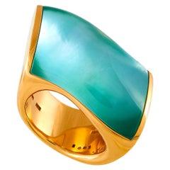 Vhernier Onda Grande 18 Karat Rose Gold Pearl, Chrysoprase and Rock Crystal Ring