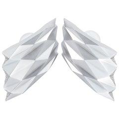 Vhernier Plissé 18 Karat White Gold 0.32 Carat Diamond Earclips