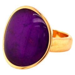 Vhernier Rare Sugilite Rock Cystal Giotto Collection Yellow Gold Cocktail Ring