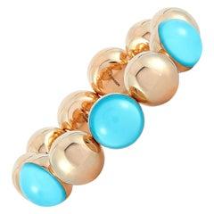 Vhernier Re Sole 18 Karat Rose Gold Turquoise and Rock Crystal Bracelet
