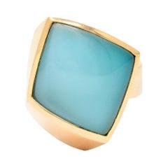 Vhernier Rock Crystal Quartz Turquoise 18 Karat Rose Gold Plateau Ring