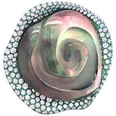 Vhernier Rosa Collection Titanium White Diamond Cocktail Ring