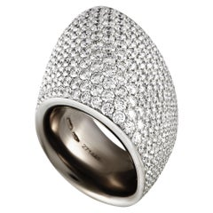 Vhernier Tonneau 18 Karat White Gold 9.52 Carat Diamond Ring