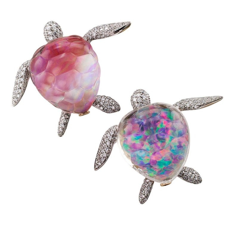 6 Crystal Pearl Photo Picture Frame Diamond Bowknot: Vhernier Turtle Brooch Pink Mother-of-Pearl Rock Crystal