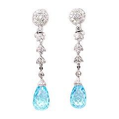 V.Holmstrup Blue Briolette Topaz and Diamond Ear Pendants