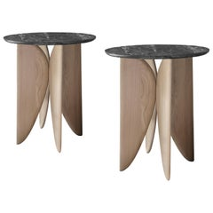 VI, White Oak and Marble Bedside Table Set from Noviembre by Joel Escalona