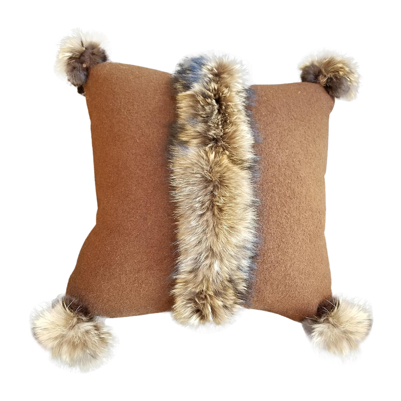 """Via Veneto"" Merino Wool with Fur Trim Pillow"