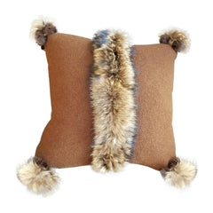 """Via Veneto"" Merino Wool with Fur Trim Pillow"