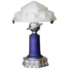 Vianne Glass Art Deco Styled Cobalt Table Lamp