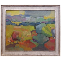 Vibrant American Midcentury Abstract Landscape Painting