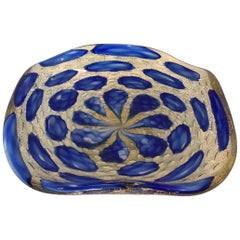 Vibrant Blue and Gold Murano Footed Bowl by Barovier and Toso