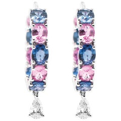 Vibrant Blue and Soothing Pink Sapphire with White Diamond Cocktail Hoop Earring