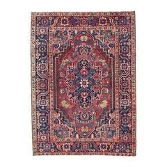 "Vibrant Color Palette Semi-Antique Persian Heriz Rug  4'8"" x 6'5"""