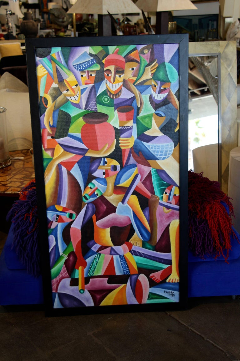 Unknown Vibrant Colorful Painting Signed Paubak For Sale