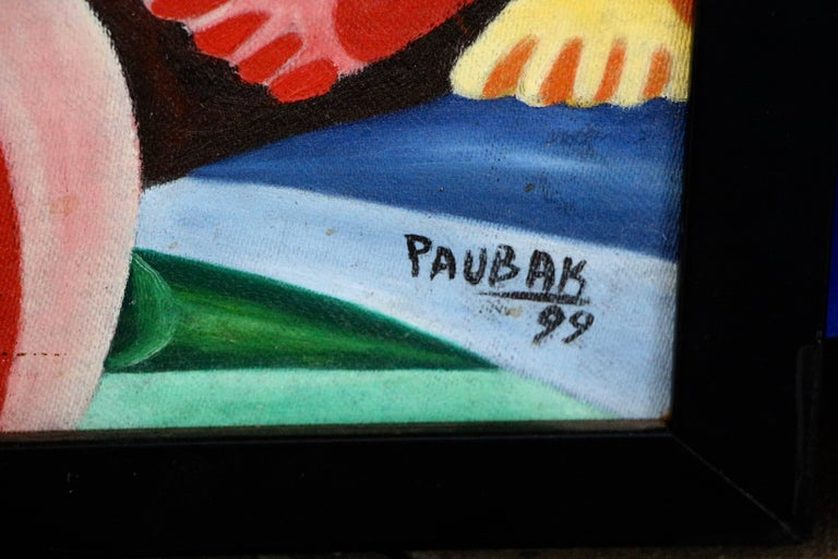 20th Century Vibrant Colorful Painting Signed Paubak For Sale