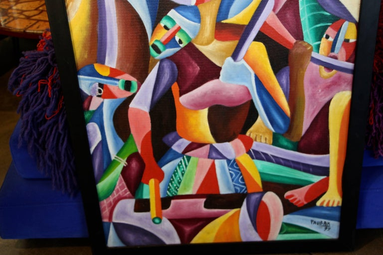 Vibrant Colorful Painting Signed Paubak For Sale 2