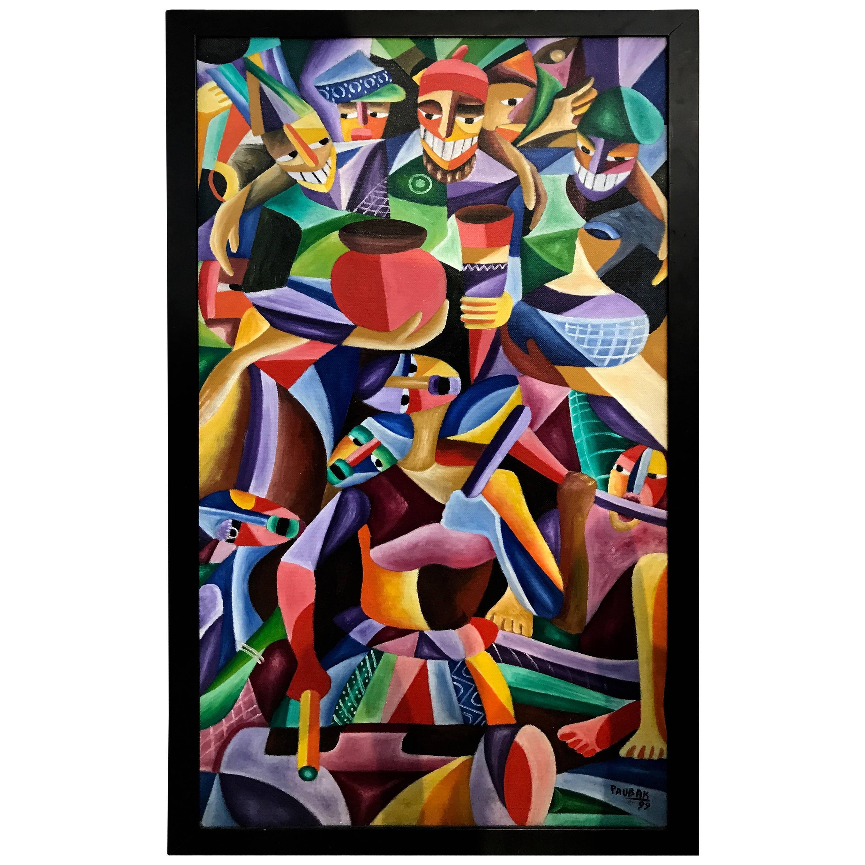 Vibrant Colorful Painting Signed Paubak
