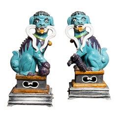 Vibrant Coloured Pair of Glazed Ceramic Foo Dog Sculptures Made for Birks